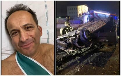 Incidente stradale per il comico Uccio De Santis: l'auto si ribalta