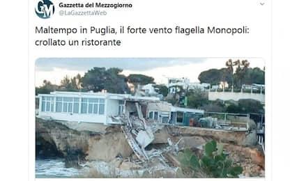 Maltempo Bari, danni da mareggiate. A Monopoli crolla una scogliera