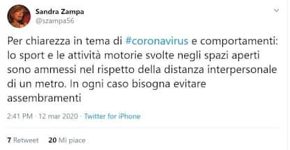 """Coronavirus, Zampa: """"Sono ammesse le attività motorie all'aperto"""""""
