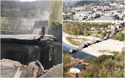 Massa Carrara, crolla ponte su fiume Magra: un ferito. VIDEO-FOTO