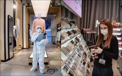 Coronavirus, sanificazione dei negozi per riapertura. FOTO