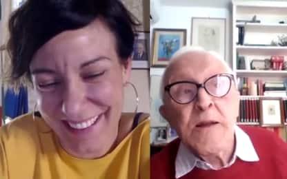 Sergio Lepri (100 anni) in videochiamata con la ministra Pisano. VIDEO