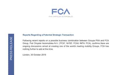 """Fca conferma: """"In corso discussioni con Psa-Peugeot"""""""