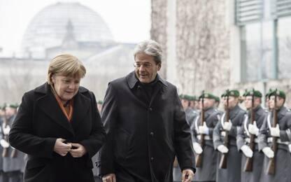 """Berlino, incontro Gentiloni-Merkel: """"Le nostre relazioni sono ottime"""""""