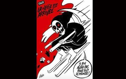 Rigopiano, vignetta choc di Charlie Hebdo: la morte sugli sci