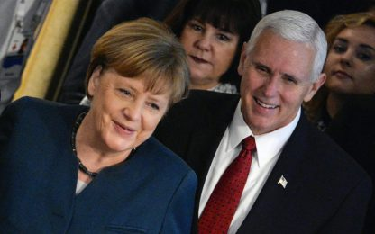 """Merkel:""""Rafforzare Ue, Nato e Onu"""". Pence: """"Usa sostengono Alleanza"""""""