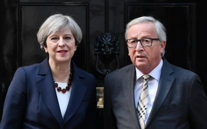 """Brexit, Juncker dopo incontro con May: """"Sono dieci volte più scettico"""""""