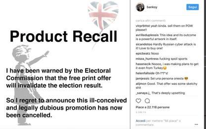 Uk, Banksy: opera gratis a chi non vota Tory. Poi cancella iniziativa