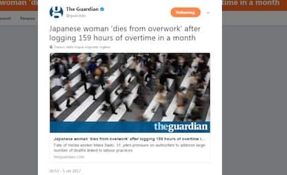 """Donna muore per """"troppo lavoro"""" in Giappone"""