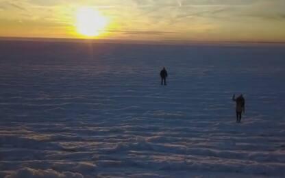Massachusetts, spettacolari immagini del drone sull'oceano ghiacciato