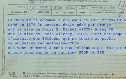 Francia: telegrammi addio, servizio interrotto dopo 139 anni