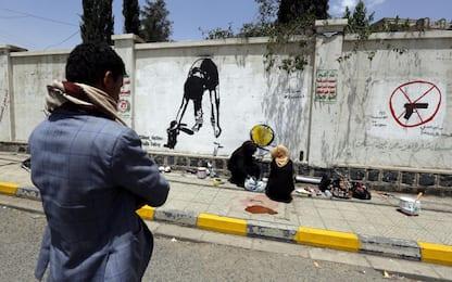 Graffiti contro reclutamento bimbi Yemen