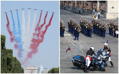 Francia, gaffe alla parata: tricolore invertito e incidente tra moto