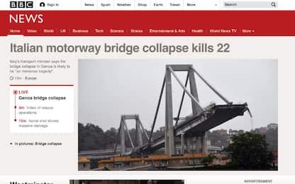 Crollo ponte sui media stranieri