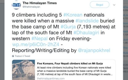 Nepal, nove alpinisti morti in una tempesta di neve