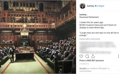 """Brexit, le """"scimmie"""" di Banksy tornano in mostra a Bristol"""