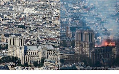Incendio Notre-Dame: immagini della cattedrale prima e dopo