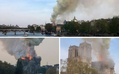 Parigi, incendio a Notre-Dame: fiamme nella cattedrale
