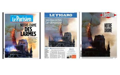 Notre Dame, l'incendio sulle prime pagine francesi