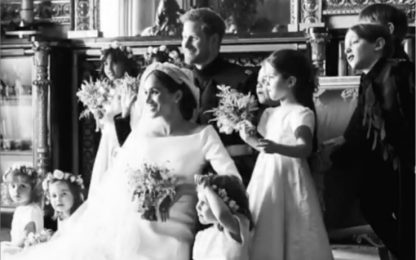 Anniversario di Harry e Meghan, ecco le immagini inedite delle nozze