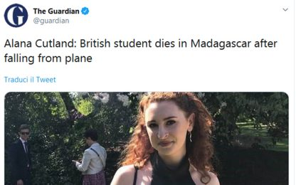 Madagascar, studentessa inglese muore cadendo da un aereo in volo