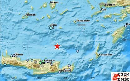 Terremoto a Nord di Creta, scossa di magnitudo 4.8