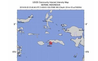 Indonesia, scossa di terremoto di magnitudo 6.5 alle isole Molucche