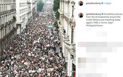 """Fridays for Future, Greta Thunberg pubblica Torino: """"Incredibile"""""""