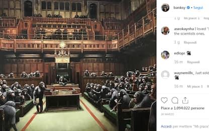 Londra, asta record per un'opera di Banksy: 11 milioni di euro. VIDEO