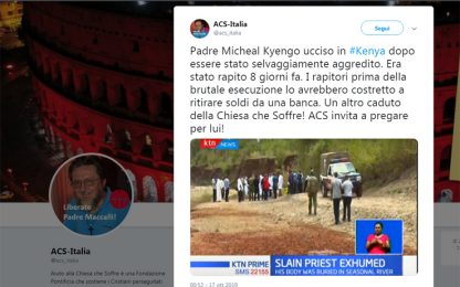 Kenya, rapito e ucciso un sacerdote
