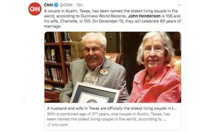 È texana la coppia più vecchia del mondo: 211 anni in due
