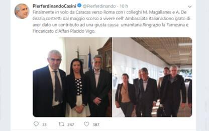 Venezuela, Casini torna in Italia con due deputati oppositori