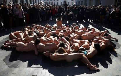 Nudi contro le pellicce, protesta animalisti a Madrid. FOTO
