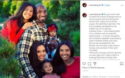 Kobe Bryant, il toccante ricordo della moglie Vanessa su Instagram