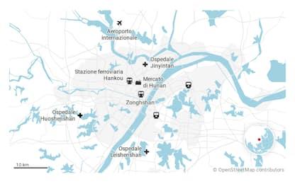 Coronavirus, Wuhan: i luoghi chiave della città in quarantena. MAPPE