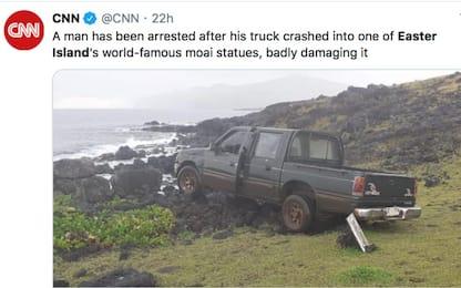 Isola di Pasqua, pickup si schianta e distrugge una delle statue sacre