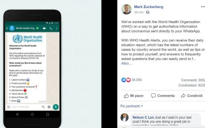 Coronavirus, gli aggiornamenti dell'Oms arrivano su WhatsApp