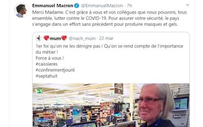Coronavirus, Macron ringrazia i cassieri su Twitter