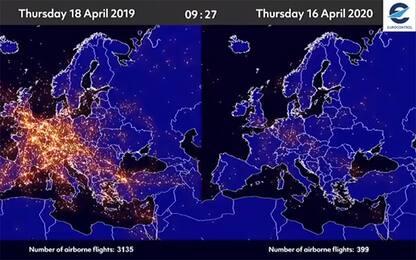 Coronavirus, traffico aereo prima e dopo il lockdown: VIDEO