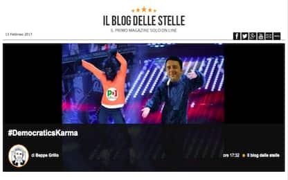 """Grillo contro il Pd: """"Democratic's Karma, la scimmia piddina balla"""""""