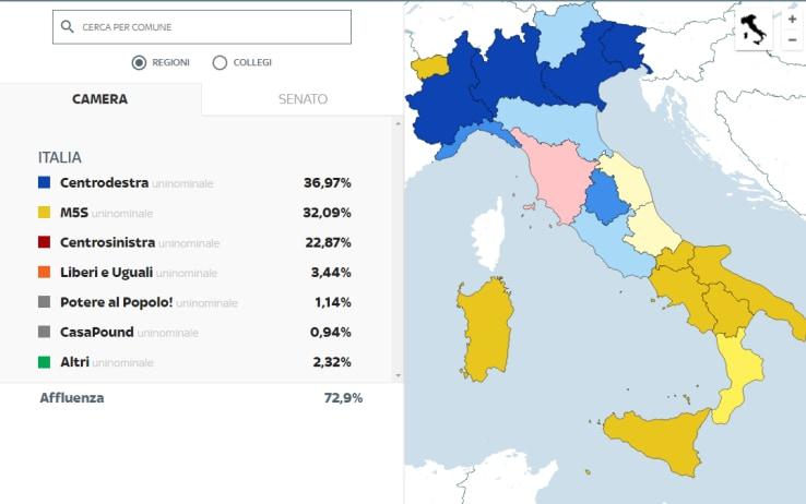 Cartina Italia Politica Interattiva.Elezioni 2018 Mappa Interattiva Di Sky Tg24 Per I Collegi Uninominali Sky Tg24
