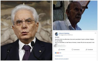 Post contro Mattarella su profilo padre Di Battista, aperta indagine