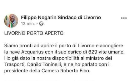 """Nave Aquarius, Nogarin (M5S): """"Vengano a Livorno"""". Poi toglie il post"""