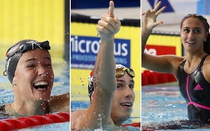 Europei nuoto, tris di oro per l'Italia