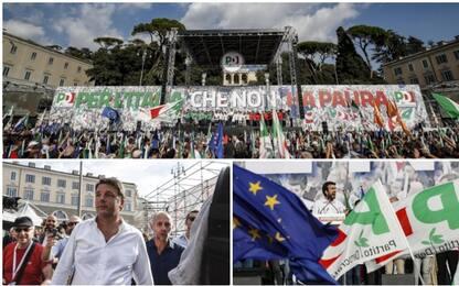 """Pd in piazza a Roma contro il governo: """"Qui per difendere l'Italia"""""""