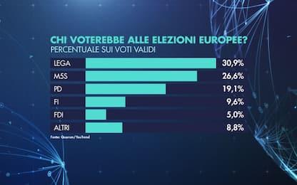 Europee, Lega 30,9%, M5s 26,6%. Sondaggio per Sky Tg24