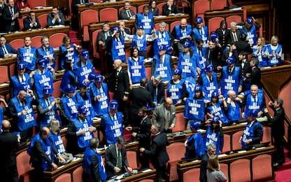 Decretone, Forza Italia protesta al Senato