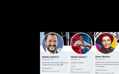 Politica e tweet: Salvini più attivo, Renzi ha più followers
