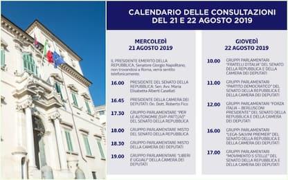 Crisi governo, il calendario delle consultazioni