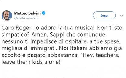 "Salvini risponde a Roger Waters: ""Ospita i migranti a casa tua"""